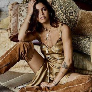 Spell & the gypsy Stargazer Gold silk slip dress
